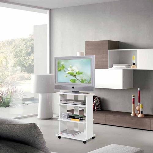 Mobile Porta Pc E Stampante In Legno Bianco Carrello Mobiletto Porta Tv Con Ruote E Mensole Per Camera Da Letto Dimensioni 81x60x45 Cm