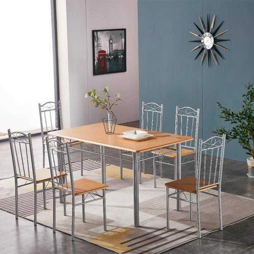 Tavolo E Sedia Da Cucina Con Struttura In Acciaio E Mdf Set Tavoli Completo Di 6 Sedie Da Pranzo In Legno Chiaro