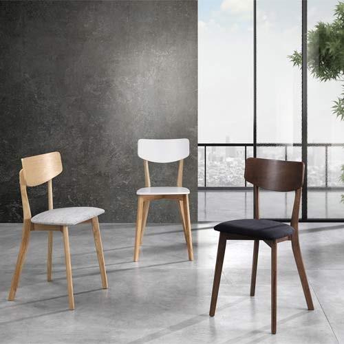 Sedia cucina in legno laccato bianco opaco e rovere, sedie ...