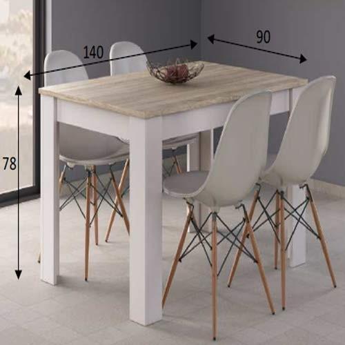 Tavolo Da Pranzo Rovere Allungabile Di 50 Cm Tavoli Da Cucina Allungabili Con Gambe Di Colore Bianco Dimensioni 78x190x90 Cm