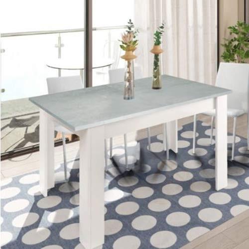 Tavolo Da Pranzo Cemento Allungabile Di 50 Cm Tavoli Da Cucina Allungabili Con Gambe Di Colore Bianco Dimensioni 78x190x90 Cm