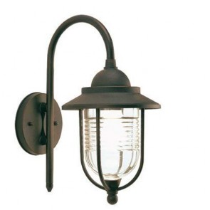 Applique lampada piccola in basso E27 colore Ruggine, lampade da esterno Sovil della linea porto.