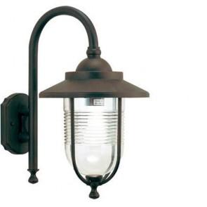Applique lampada grande da parete E27 colore ruggine, lampade per esterno Sovil della linea porto.