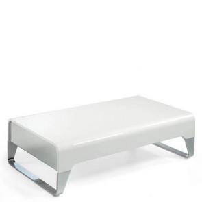 Tavolino salotto Angel Cerdà in legno laccato bianco, tavolini per salone