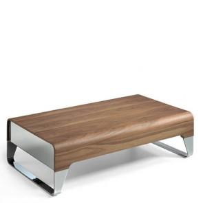 Tavolino salotto Angel Cerdà in legno impiallacciato noce, tavolini per salone con cassetti laterali