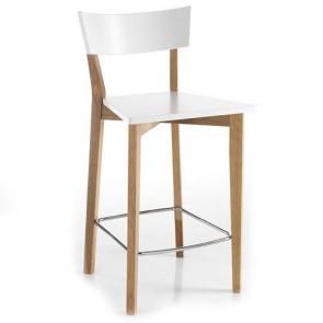 Sgabello bar Tomasucci bianco in legno masello, set sgabelli cucina con schienale alto per casa e ufficio.