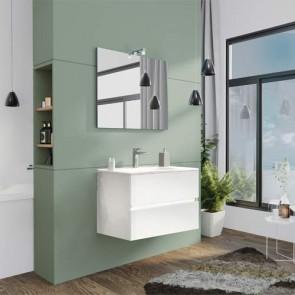 Mobile bagno moderno sospeso Splash. Mobili Fores sospesi in legno, colore bianco completo di specchio, illuminazione LED e lavabo.