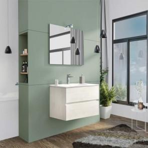 Mobile bagno moderno sospeso Splash. Mobili Fores sospesi in legno, colore rovere bianco completo di specchio, illuminazione LED e lavabo.