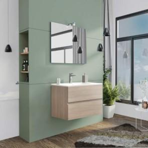 Mobile bagno moderno sospeso Splash. Mobili Fores sospesi in legno, colore rovere grigio completo di specchio, illuminazione LED e lavabo.