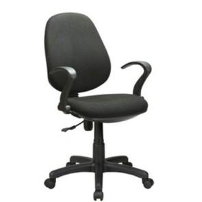 Sedia con ruote girevole per ufficio, poltrona in tessuti nero con braccioli per camerette.