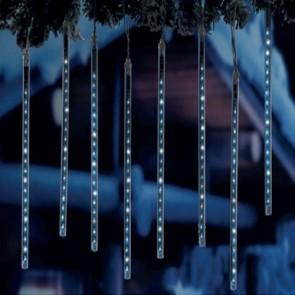 Luci di natale 8 ghiaccioli 144 led luce bianca effetto pioggia di meteore uso esterno altezza 30 cm.