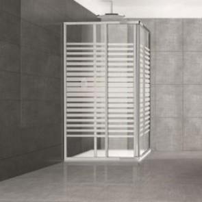 Box doccia angolare altezza 185 cm. Cabina doccia bagno con cristallo serigrafato 6 mm e profilo in alluminio cromato liscio, dimensioni 80x80 cm