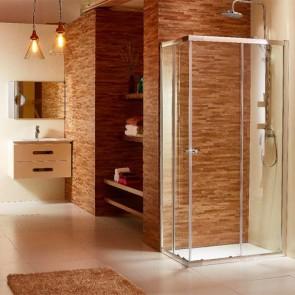 Box doccia angolare altezza 185 cm. Cabina doccia bagno con cristallo trasparente 6 mm e profilo in alluminio cromato liscio,