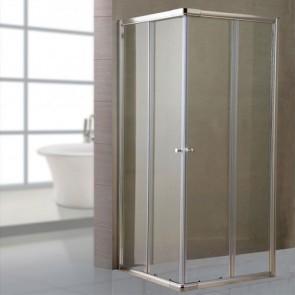Box doccia angolare altezza 185 cm. Cabina doccia bagno con cristallo trasparente 6 mm e profilo in alluminio cromato liscio