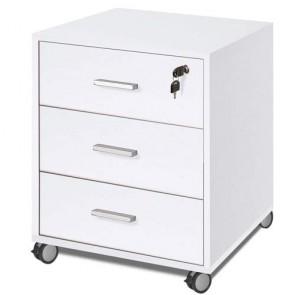 Cassettiera scrivania ufficio in legno 3 cassetti bianca, con serratura e ruote. Cassettiere scrivanie