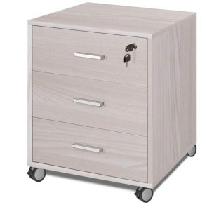 Cassettiera scrivania ufficio in legno 3 cassetti olmo chiato, con serratura e ruote.