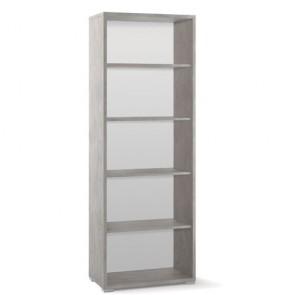 Libreria ufficio Sarmog con 2 ripiani regolabili. Mobile a giorno cemento con 4 ripiani.