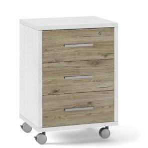 Cassettiera scrivania ufficio in legno 3 cassetti in rovere, con serratura e ruote. Cassettiere scrivanie bianca per arredamento camerette con rotelle e chiave.