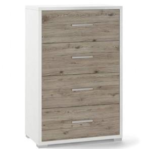 Cassettiera bianca e rovere con 4 cassetti in legno nobilitato. Armadio settimino ideale per ufficio e camera da letto