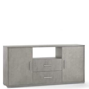 Mobile porta TV Sarmog con due cassetti. Mobili ufficio cemento con due ante, misure 174x41x84 cm.