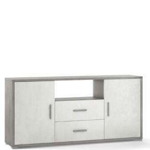 Mobile porta TV Sarmog con due cassetti. Mobili ufficio cemento con due ante bianche
