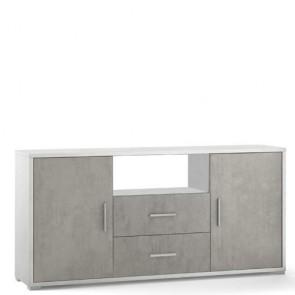 Mobile porta TV Sarmog con due cassetti. Mobili ufficio bianco con due ante cemento