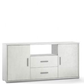 Mobile porta TV Sarmog con due cassetti. Mobili ufficio bianco con due ante, misure 174x41x84 cm.