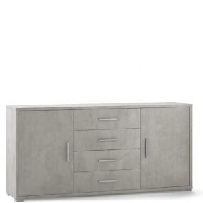Mobile porta TV Sarmog con 4 cassetti. Mobili ufficio cemento con due ante