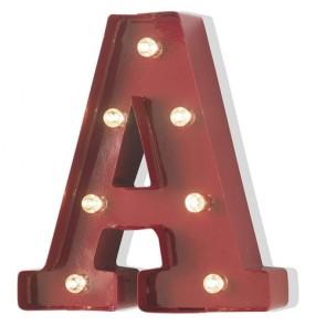 Lampada a forma di lettera luminosa A in ferro rosso anticato, lettere luminose con lucine led.