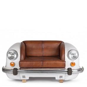 Divano Bizzotto ambassador bianco in pelle, divani vintage con struttura in legno e pelle di bufalo.