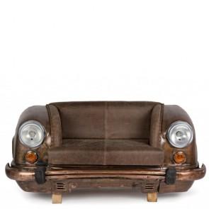 Divano Bizzotto ambassador in pelle marrone, divani vintage con struttura in legno e pelle di bufalo.