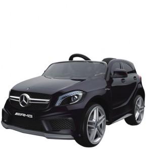 Macchina elettrica 12V Mercedes Benz GLA per bambini con telecomando. Fuoristrada elettrico SUV colore nero un posto per bambino con radiocomando