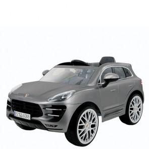 Macchina elettrica 12V Porsche per bambini, con telecomando. Fuoristrada elettrico SUV Macan colore silver per bimbo con radiocomando.