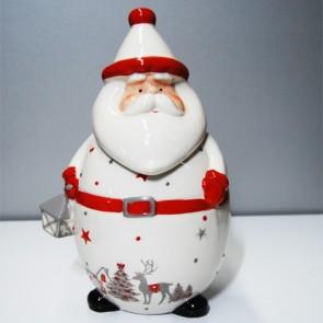 Babbo natale ceramica bianca, barattolo in ceramica per la cucina ideale per contenere zucchero e caffè con eleganza