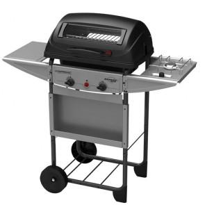 Barbecue a pietra lavica Campingaz Expert Deluxe con due bruciatori in acciaio. Barbecue a gas con fornello laterale per cottura in pentola,