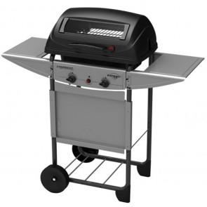 Barbecue a pietra lavica Campingaz Expert Plus con due bruciatori in acciaio. Barbecue a gas con coperchio in vetro, termometro e accensione piezoelettrica.