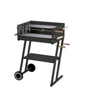 Barbecue a carbonella con struttura in acciaio, completo di girarrosto e due forchette. Fornello a carbone da esterno per giardino con due griglie regolabili,