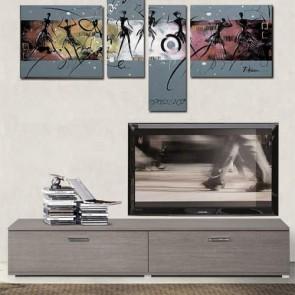 Mobile porta TV basso dal design minimalista in stile nordico. Parete attrezzata moderna larice grigio