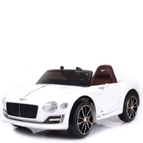 Auto elettrica bambini Bentley con luci led. Macchina elettrica sportiva 12 volt colore bianco per bambino con ingresso USB
