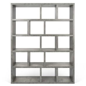 Libreria design in legno Temahome per casa e ufficio. Mobile librerie aperte in quercia, noce, grigio e bianco, dimensioni 198x150x34 cm.