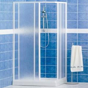Box doccia angolare in alluminio verniciato bianco. Cabina doccia bagno Giava ad estensione regolabile