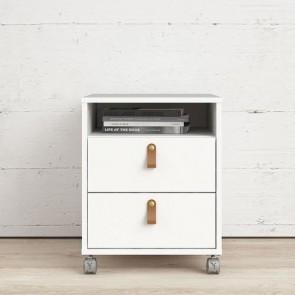 Cassettiera scrivania ufficio in legno 2 cassetti bianca con ruote. Cassettiere scrivanie per arredamento camerette con rotelle