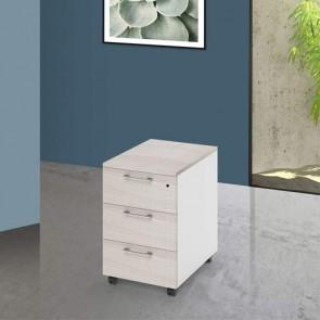 Cassettiera scrivania ufficio in legno 3 cassetti olmo, con serratura e ruote. Cassettiere scrivanie per arredamento camerette con rotelle e chiave.