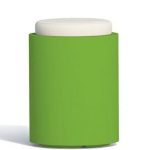 Pouf contenitori per esterno con cuscino in ecopelle bianco. Sgabello design rotondo Monacis in polietilene verde con vano contenitore