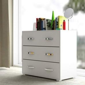 Cassettiera comò in legno nobilitato bianco. Mobile settimino camera da letto con 3 cassetti