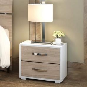 Comodino moderno olmo con due cassetti per cameretta bambini, comodini in legno ideali in camera da letto.