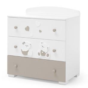 Comò Erbesi per neonato, cassettiere per camerette neonati bianco tortora dimensioni 91x55x98,5 cm.