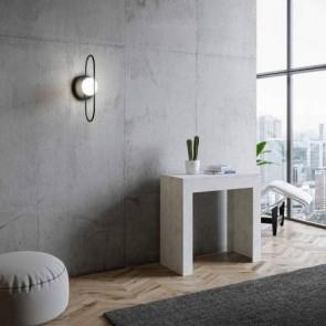 Tavolo consolle Emy allungabile a 302 cm, colore bianco spatolato. Tavoli consolle allungabili moderni con cinque allunghe.