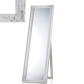 Cornice specchio da terra rettangolare in legno bianco anticato, specchiera ingresso da pavimento in stile shabby chi