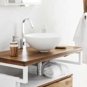 Lavabo bagno da appoggio cipì in resina moderno, lavandino sospeso a ciotola in Betacryl di colore bianco.